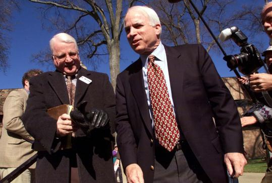 Senator John McCain (right) campaigned with his brother, Joe, at a Town Hall meeting in Greenville, S.C., in January 2000. Although he is not campaigning this year, Joe McCain's writing on anti-Semitism has been widely distributed on the Internet.