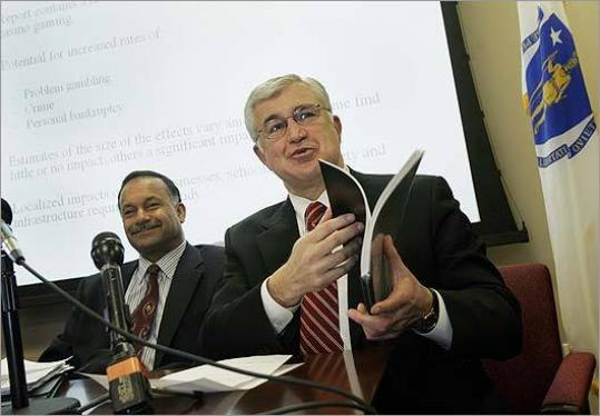 Paul Guzzi, president of the Greater Boston Chamber of Commerce (right) and chairman Ralph C. Martin III released a report on Governor Deval Patrick's casino plan yesterday.