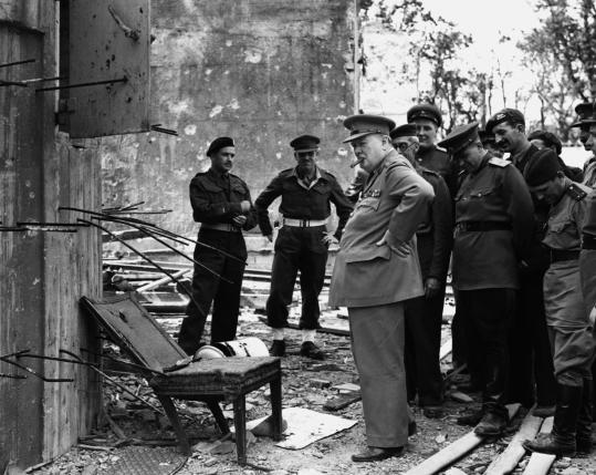 Winston Churchill, shown above in the ruins of Berlin's Chancellery, is portrayed in 'Human Smoke' as eager for war.