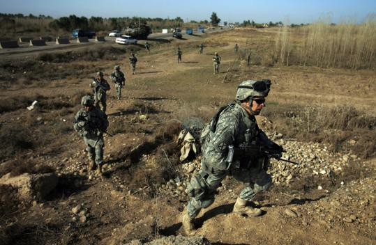 US soldiers from the Second Battalion, 23d Infantry Regiment, patrolled yesterday in Diyala Province, northeast of Baghdad, where police reported two separate bombings that killed six.