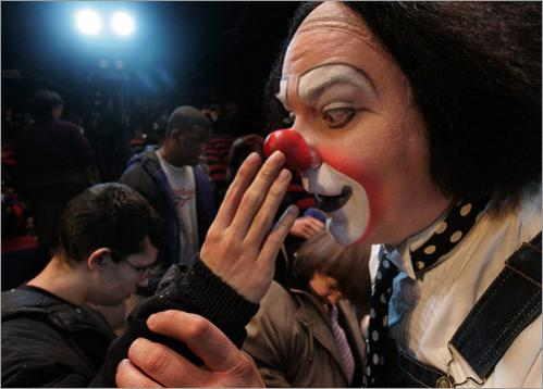 Greg DeSanto, a clown with the Big Apple Circus, entertains Justin Fiore, a blind student at Randolph High School. The circus held a 'Circus of the Senses' day for hundreds of children with sight and hearing impairments in 2006.