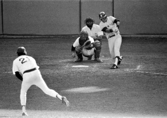 Bucky Dent hits a three-run homer off Sox pitcher Mike Torrez in the 1978 one-game playoff.