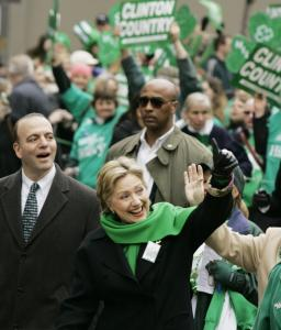 Hillary Clinton marched in two Saint Patrick's Day parades yesterday in Pennsylvania, including one in Pittsburgh with Dan Onorato (left), Allegheny County's chief executive.