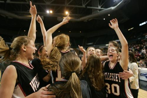 The Wellesley girls celebrate after they defeated Millbury during the Division 2 championship game.