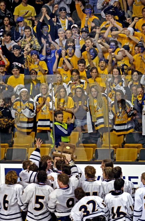 Needham fans cheer as the players show them the championship trophy following their victory over Westford Academy in the Division 1 title game.