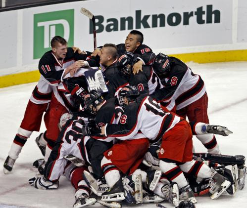 Westfield players celebrate on the Garden ice after their 3-2 victory over Scituate in the Division 3 state title game.
