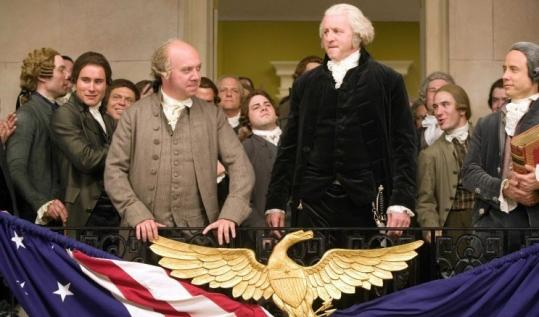 The seven-part HBO miniseries, 'John Adams' made its debut Sunday. It stars Paul Giamatti (center left) and David Morse.
