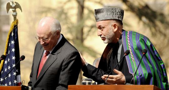 Vice President Dick Cheney, who visited Afghanistan unannounced yesterday, and Afghan President Hamid Karzai spoke to the media in Kabul, where they met privately for an hour.