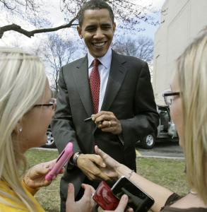 Senator Barack Obama of Illinois shook hands after speaking at the University of Charleston yesterday in Charleston, W.Va. Polls indicate that the furor over remarks by Obama's pastor has hurt Obama with the national electorate.