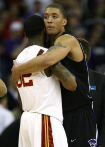 Fabulous freshmen Michael Beasley (right) of Kansas State and O.J. Mayo of USC, both of whom are likely headed to the NBA next season, embrace after the Wildcats' win.