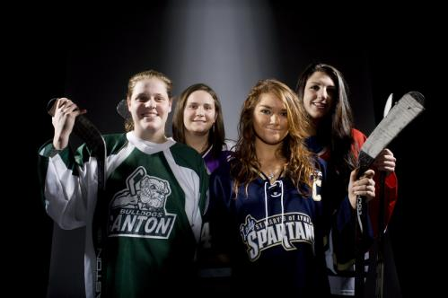 Four 200-point scorers in girls' hockey: (from left) Canton's Brittany Lyons, Boston Latin's Kathleen Roche, St. Mary's Abby Gauthier, and Reading's Dominique Lozzi. Click through our gallery to read about the accomplishments of each player.