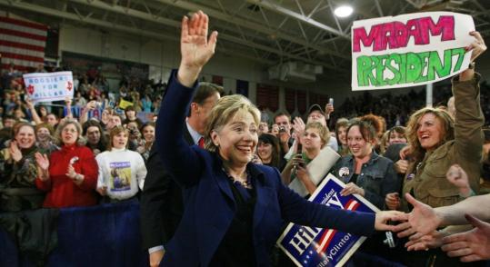 Hillary Clinton greeted supporters on Thursday during a campaign rally in Evansville, Ind. Her campaign downplayed Governor Bill Richardson's endorsement of rival Barack Obama.