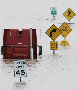 Flood waters from the Meramec River submerged this intersection at Route 141 and Interstate 44 in Fenton, Mo.
