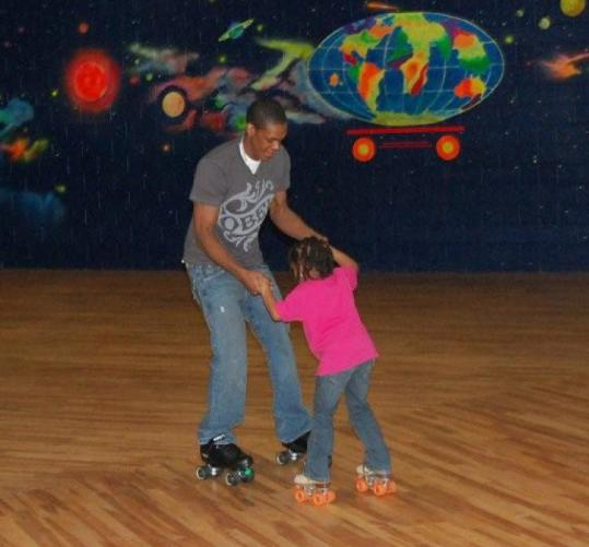 Celtics guard Rajon Rondo displayed his considerable skill on roller skates during a recent community event in Saugus.