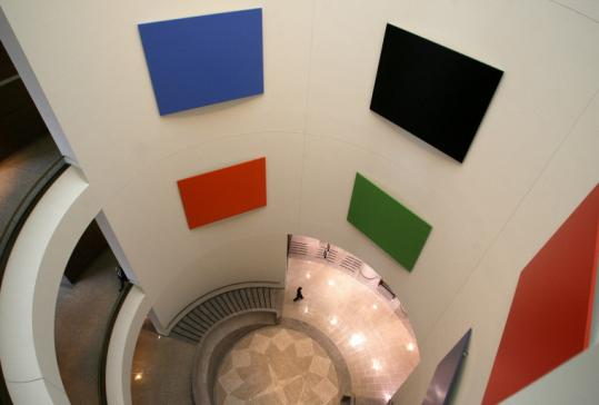 Artist Ellsworth Kelly calls his flat blocks of color, hung in the rotunda at the Moakley courthouse, 'wall sculptures.'