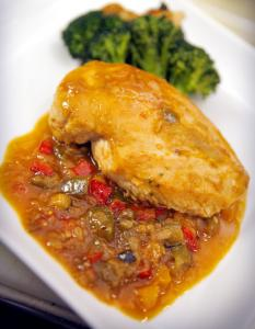 Cafe Italia's chicken ala samfaina is cooked with eggplant, zucchini, tomatoes, and peppers.