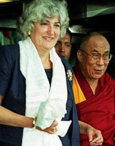 Julia V. Taft, escorting the Dalai Lama after meetings with members of the US State Department in Washington.