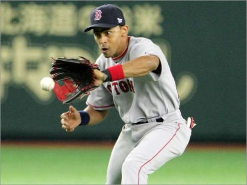 Red Sox shortstop Julio Lugo was concentrating hard as he fielded this ground ball.