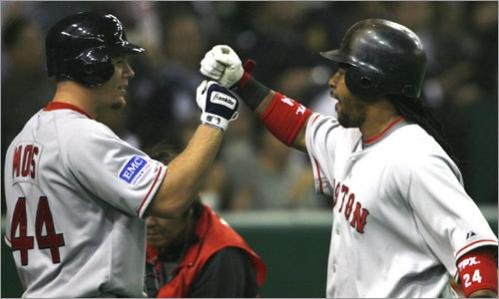 Brandon Moss greets Manny Ramirez at home plate after Ramirez's solo home run off of Rich Harden.