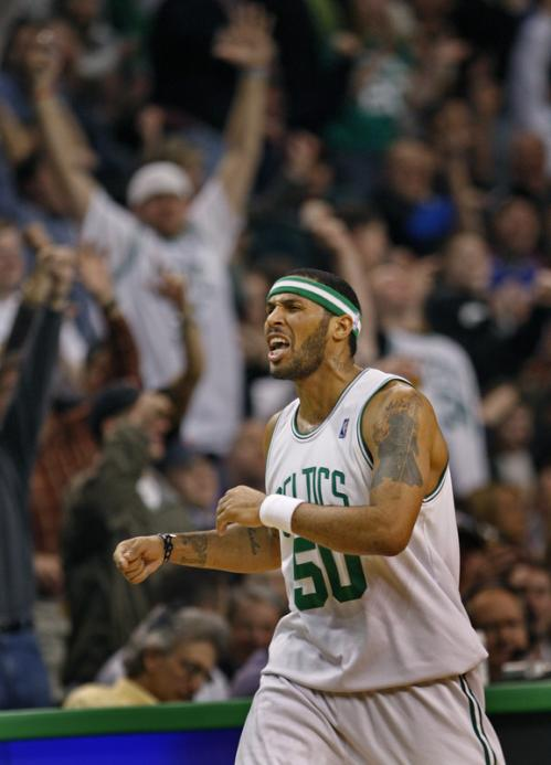 Eddie House is pumped and brings the crowd out of their seats after hitting a fourth-quarter 3-pointer.