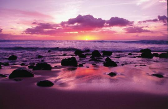 Sunset on Molokai, an appealing island that many visitors to Hawaii have yet to discover.
