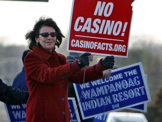 Opponents and supporters of a local casino were outsideMiddleborough High School during a hearing Tuesday.