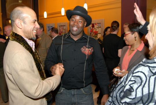 Berklee's Carl Beatty (left) and drummer John Blackwell at the Cafe 939 launch party.