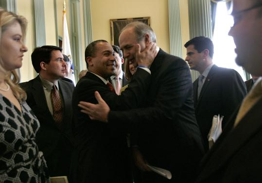 Governor Deval Patrick and House Speaker Salvatore DiMasi embraced briefly at yesterday's press conference. It was the first time they have appeared together publicly since the speaker orchestrated a crushing defeat of the governor's casino proposal.