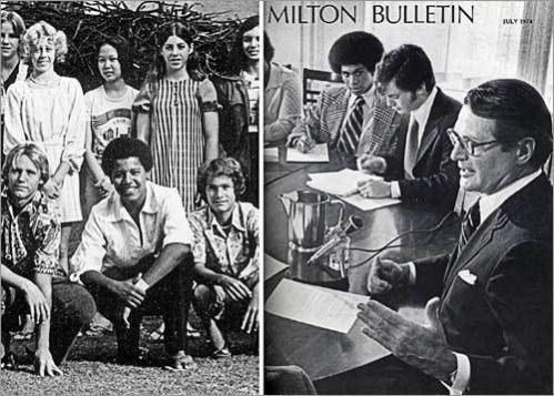 Prep school separation Both left single-parent families to attend prestigious prep schools, Obama (left) in Hawaii and Patrick in Massachusetts at Milton Academy. It took Obama until college to find his way.