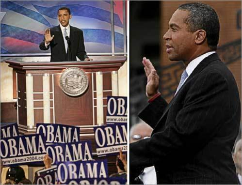 Defining moments Obama (left) vaulted into the national spotlight with an electrifying speech at the 2004 Democratic National Convention in Boston. In 2006, Patrick built a broad grass-roots network and overcame long odds to win the Massachusetts governor's race, becoming the first African-American to hold that post.