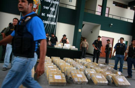 At a news conference this month in Lima, antidrug police displayed 1,500 kilograms of cocaine seized in Peru.