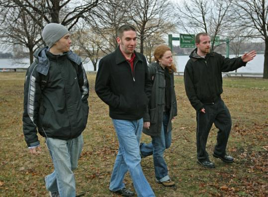 Engineering students (from left) Matthew Volovski, Tony Coward, Kelly Chromley, and Joshua Barnett designed a walk along a route by Storrow Drive in Boston along the Charles River, where a park will be opened to the public.