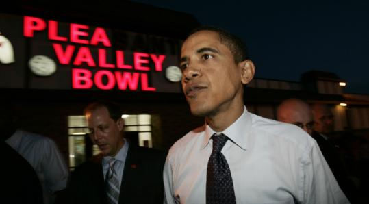 Senator Barack Obama left the Pleasant Valley Recreation Center in Altoona, Pa., yester