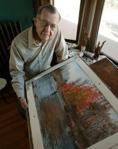 Henry McDaniel, with a watercolor he painted when he was 99.