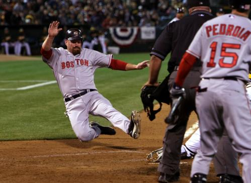 Kevin Youkilis scored both of the Red Sox' runs.