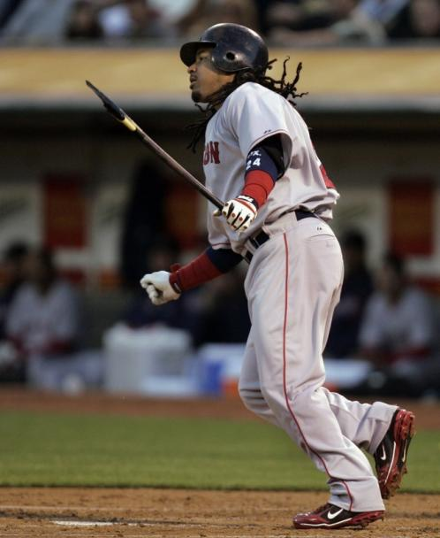 Manny Ramirez broke his bat while hitting a single in the first inning. It was his only hit of the game.