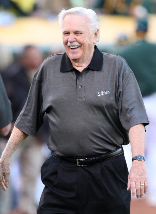 Former Athletics and Red Sox manager Dick Williams was honored before the game.