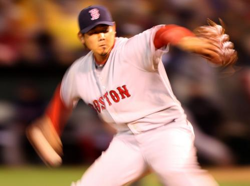 Matsuzaka, who had a no-decision in Boston's 6-5, 10-inning win in his first start, set the tone by striking out the first two batters he faced and allowed only four balls out of the infield.