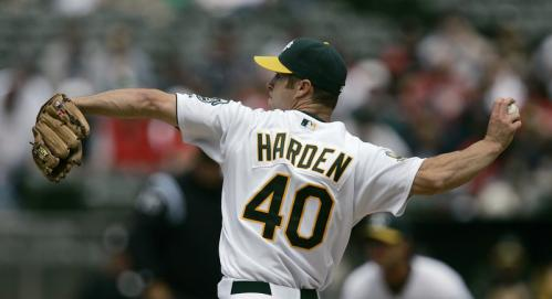 Athletics pitcher Rich Harden works during the first inning. Harden shut out the Sox in five innings of work on the day.