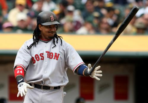 Manny Ramirez reacts after swinging for a strike during the fifth inning against the Athletics at the McAfee Coliseum.