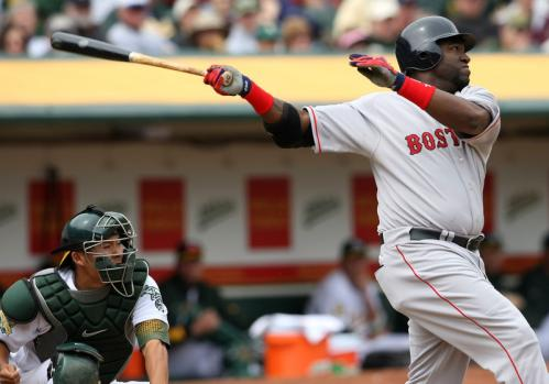 David Ortiz connects for a single during the fifth inning.