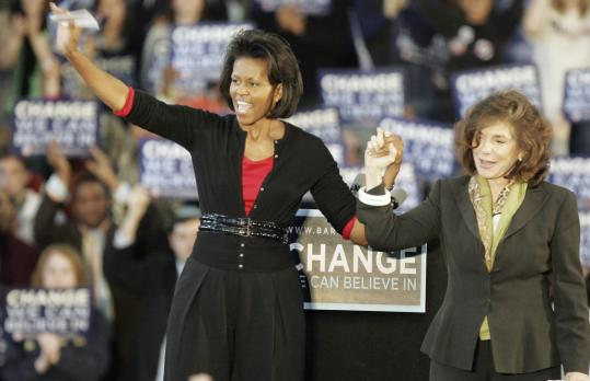Michelle Obama and Teresa Heinz Kerry greeted voters yesterday at a rally at Carnegie Mellon University in Pittsburgh. Obama praised Heinz Kerry as an 'exceptional mentor.'