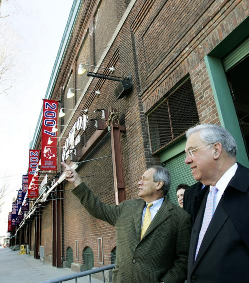 Lucchino pointed out something to Menino during the tour of Fenway Park. ALSO: Hawk attacks girl at Fenway