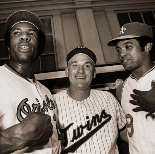 Frank Robinson (left), Harmon Killebrew, and Reggie Jackson after 1971's All-Star Game, in which they all homered to help beat the National League.