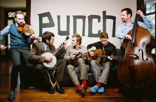 Chris Thile (center) leads the band Punch Brothers that also includes (from left) Gabe Witcher, Noam Pikelny, Chris Eldridge, and Greg Garrison. They play the MFA on Monday.