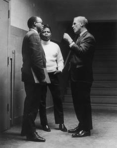 From left: Tom Atkins, James Brown, and Kevin White negotiated to keep the 1968 concert on schedule and the city safe.