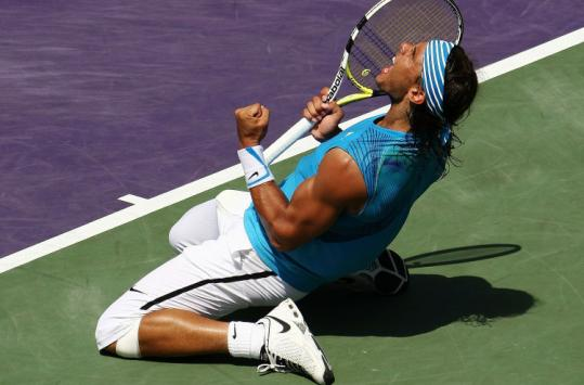 Rafael Nadal celebrates his semifinal defeat of Tomas Berdych.