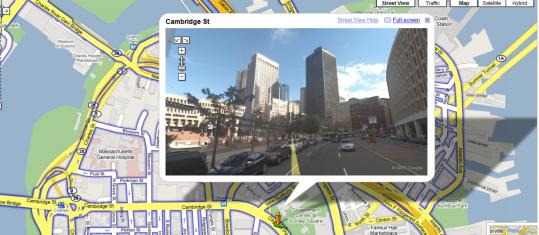 A Google Street View screen shot of Cambridge Street in Boston is superimposed over a street grid on Google Maps. Privacy advocates say the 360-degree views zoom in too tightly, showing everything from people's faces to license plate numbers.
