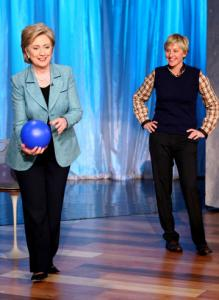Hillary Clinton went bowling with host Ellen DeGeneres on Thursday during a taping of 'The Ellen DeGeneres Show.'