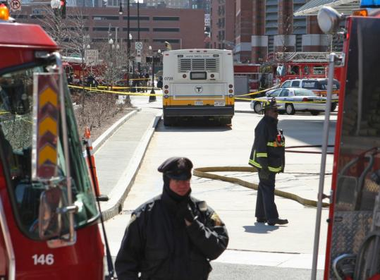 Authorities cordoned off an area around Haymarket Square when a powder, which turned out to be chalk, was found on a bus.